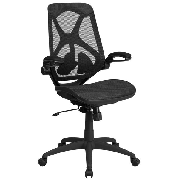 Flash Furniture Transparent Black Mesh Executive Swivel Chair with Flip Up Arms FLF-HL-0013T-GG
