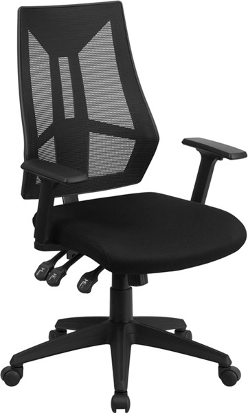 High Back Black Mesh Swivel Task Chair with Triple Paddle Control FLF-HL-0017-GG