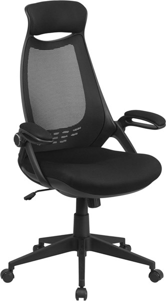 Flash Furniture High Back Black Mesh Executive Swivel Office Chair with Flip-Up Arms FLF-HL-0018-GG