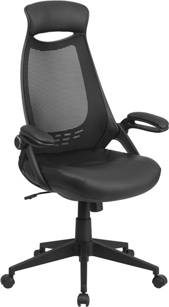 High Back Black Mesh Leather Padded Seat Executive Swivel Office Chair FLF-HL-0018-LEA-GG