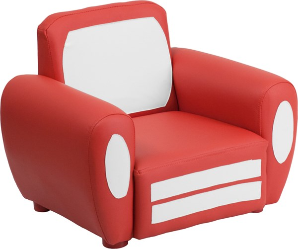 Red White Plastic Vinyl and Kids Car Chair FLF-HR-10-RED-GG
