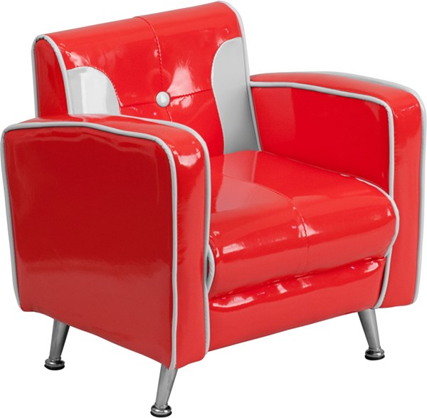 Red White Foam Plastic Vinyl Tufted Back Kids Chair FLF-HR-35-GG