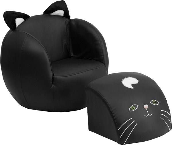 Foam Plastic Vinyl Kids Cat Chair and Footstool FLF-HR-6-GG-KCH-VAR