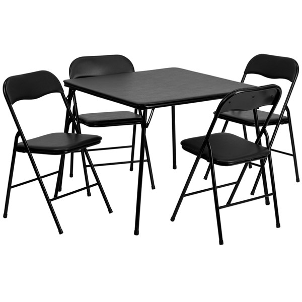 Flash Furniture Black 5pc Folding Card Table and Chair Set FLF-JB-1-GG