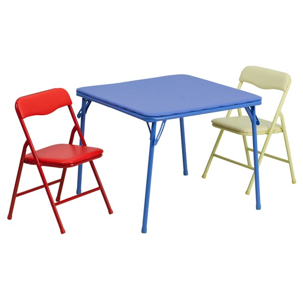 Flash Furniture Kids Colorful 3pc Folding Table and Chair Set FLF-JB-10-CARD-GG