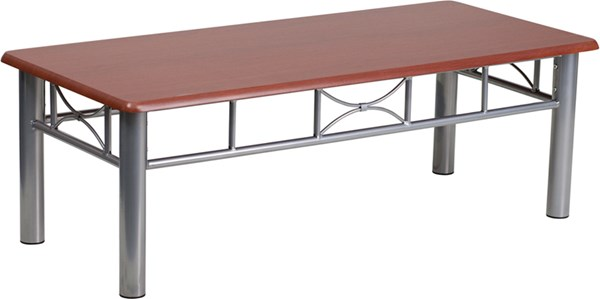 Mahogany Laminate Coffee Table with Silver Steel Frame FLF-JB-5-COF-MAH-GG