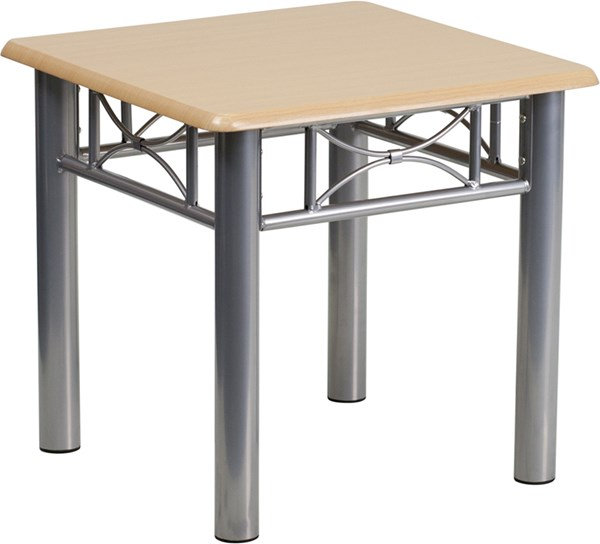 Natural Laminate End Table with Silver Steel Frame FLF-JB-6-END-NAT-GG