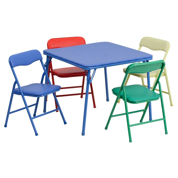 Flash Furniture Kids Colorful 5pc Folding Table and Chair Set FLF-JB-9-KID-GG