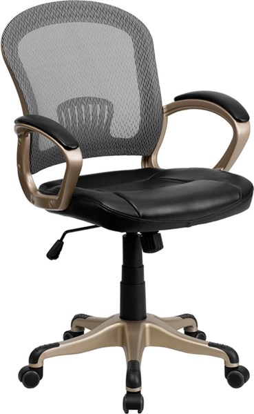 Mid-Back Mesh Office Chair w/Black Leather Seat FLF-JQ-5041-GG
