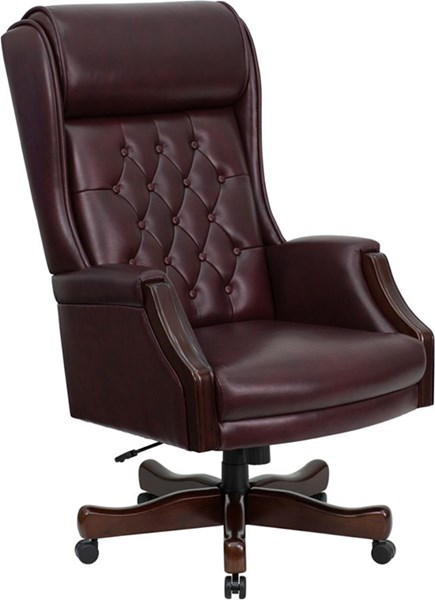High Back Traditional Tufted Burgundy Leather Executive Office Chair FLF-KC-C696TG-GG