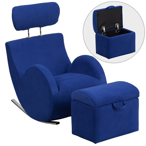Hercules Series Blue Fabric Rocking Chair with Storage Ottoman FLF-LD-2025-BL-GG
