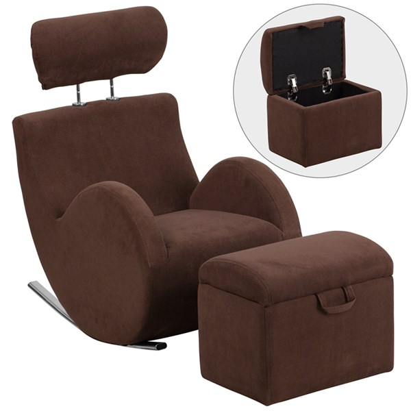 Hercules Series Brown Fabric Rocking Chair with Storage Ottoman FLF-LD-2025-BN-GG