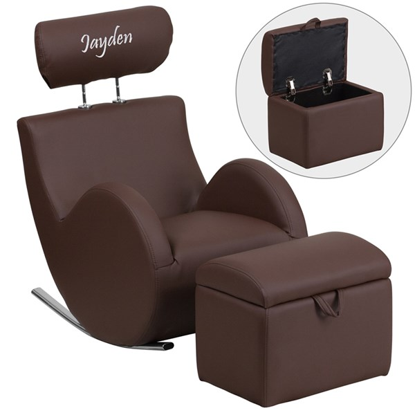 Personalized Hercules Brown Vinyl Rocking Chair with Storage Ottoman FLF-LD-2025-BN-V-TXTEMB-GG