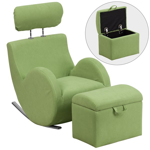Hercules Series Green Fabric Rocking Chair with Storage Ottoman FLF-LD-2025-GN-GG
