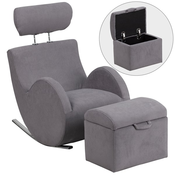 Hercules Series Gray Fabric Rocking Chair with Storage Ottoman FLF-LD-2025-GY-GG
