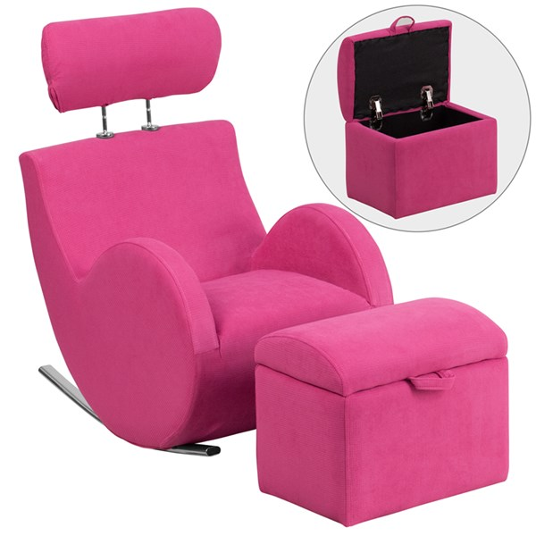 Hercules Series Pink Fabric Rocking Chair with Storage Ottoman FLF-LD-2025-PK-GG