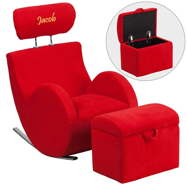 Personalized Hercules Red Fabric Rocking Chair w/Storage Ottoman FLF-LD-2025-RD-TXTEMB-GG
