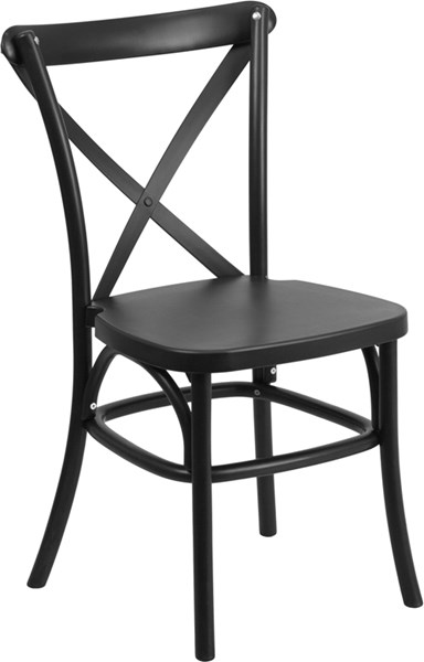 Hercules Series Black Resin Indoor-Outdoor Cross Back Chair FLF-LE-9-BK-GG