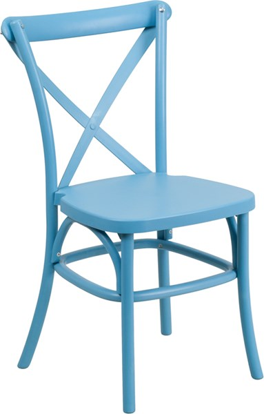Hercules Series Blue Resin Indoor-Outdoor Cross Back Chair FLF-LE-9-BL-GG