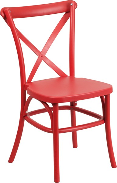 Hercules Series Red Resin Indoor-Outdoor Cross Back Chair FLF-LE-9-RD-GG