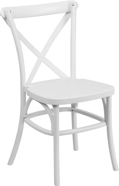 Hercules Series White Resin Indoor-Outdoor Cross Back Chair FLF-LE-9-WH-GG