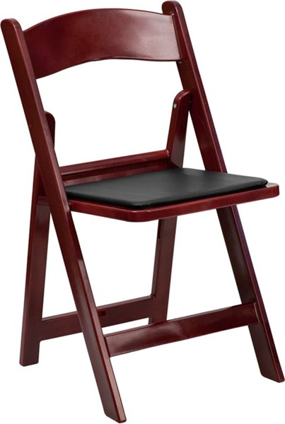 Red Mahogany Resin Folding Chair w/Black Vinyl Padded Seat FLF-LE-L-1-MAH-GG