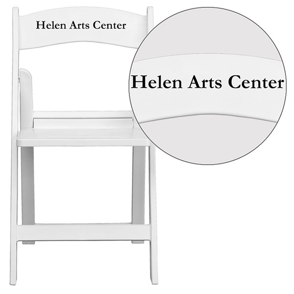 Personalized Hercules White Resin Folding Chair with Slatted Seat FLF-LE-L-1-WH-SLAT-TXTEMB-VYL-GG