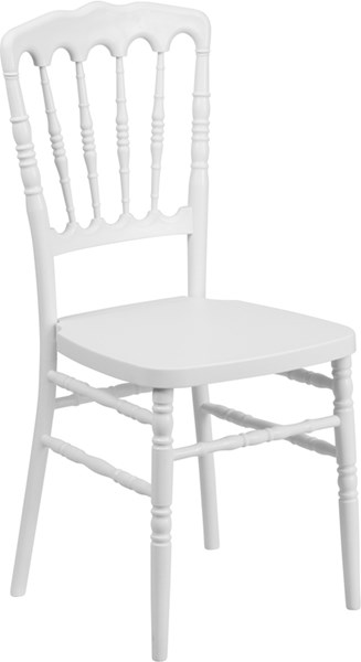 Hercules Series White Resin Stacking Napoleon Chair FLF-LE-L-8-WH-GG