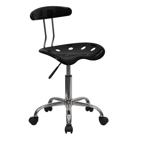Flash Furniture Vibrant Black Chrome Computer Task Chair FLF-LF-214-BLK-GG