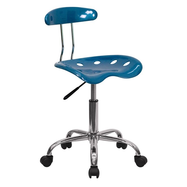 Flash Furniture Vibrant Bright Blue Chrome Computer Task Chair FLF-LF-214-BRIGHTBLUE-GG