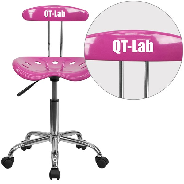 Personalized Vibrant Candy Heart & Chrome Task Chair w/Tractor Seat FLF-LF-214-CANDYHEART-TXTEMB-VYL-GG