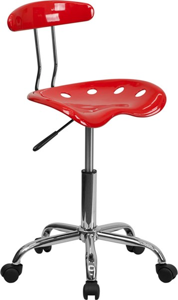 Flash Furniture Vibrant Cherry Tomato Chrome Computer Task Chair FLF-LF-214-CHERRYTOMATO-GG
