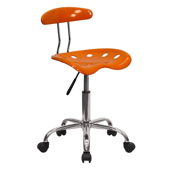 Vibrant Orange & Chrome Computer Task Chair w/Tractor Seat FLF-LF-214-ORANGEYELLOW-GG