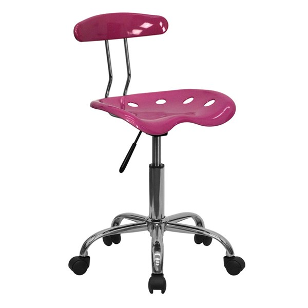 Flash Furniture Vibrant Pink Chrome Computer Task Chair FLF-LF-214-PINK-GG