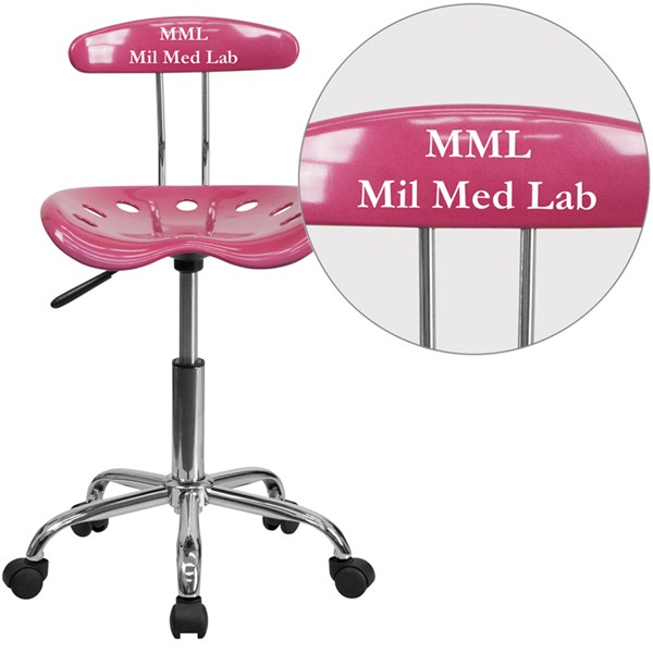 Personalized Vibrant Pink & Chrome Task Chair w/Tractor Seat FLF-LF-214-PINK-TXTEMB-VYL-GG