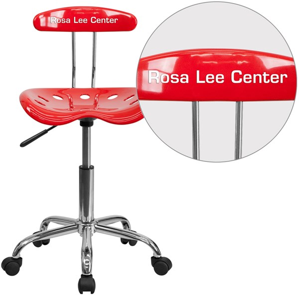 Personalized Vibrant Red & Chrome Task Chair w/Tractor Seat FLF-LF-214-RED-TXTEMB-VYL-GG
