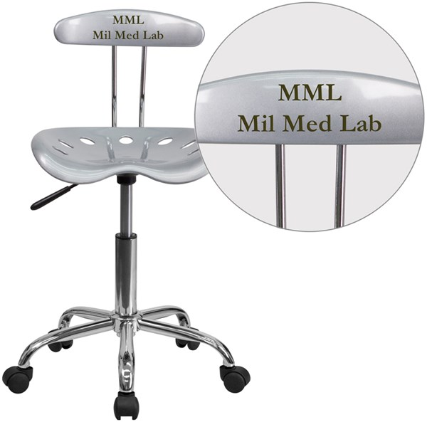 Personalized Vibrant Silver & Chrome Task Chair w/Tractor Seat FLF-LF-214-SILVER-TXTEMB-VYL-GG