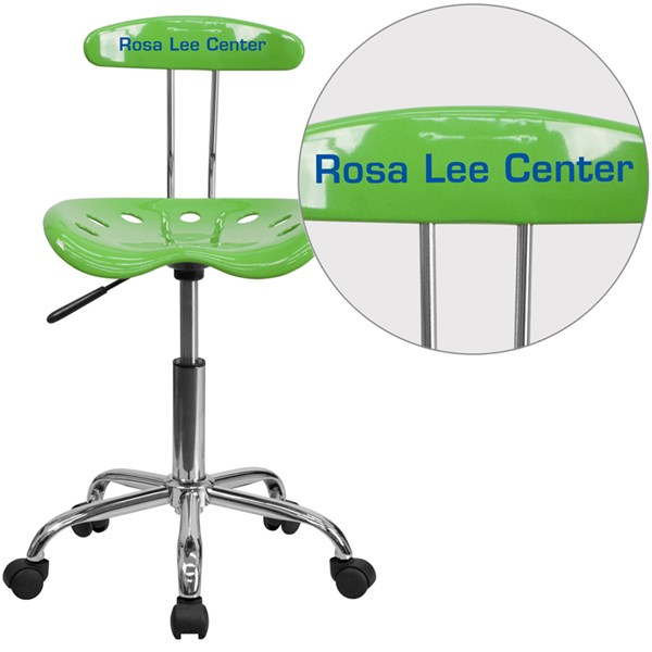 Personalized Vibrant Spicy Lime & Chrome Task Chair w/Tractor Seat FLF-LF-214-SPICYLIME-TXTEMB-VYL-GG