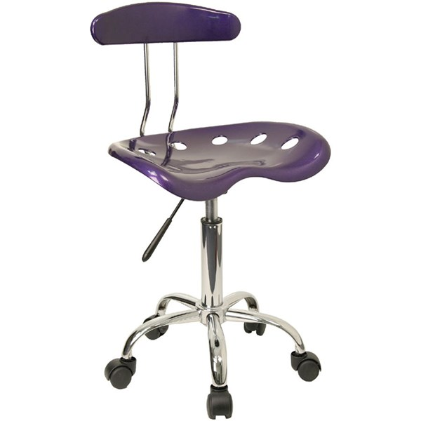 Flash Furniture Vibrant Violet Chrome Computer Task Chair FLF-LF-214-VIOLET-GG
