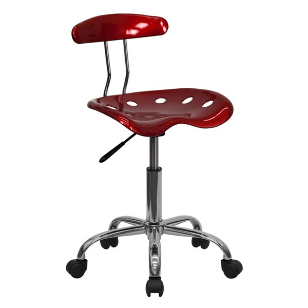 Flash Furniture Vibrant Wine Red Chrome Computer Task Chair FLF-LF-214-WINERED-GG