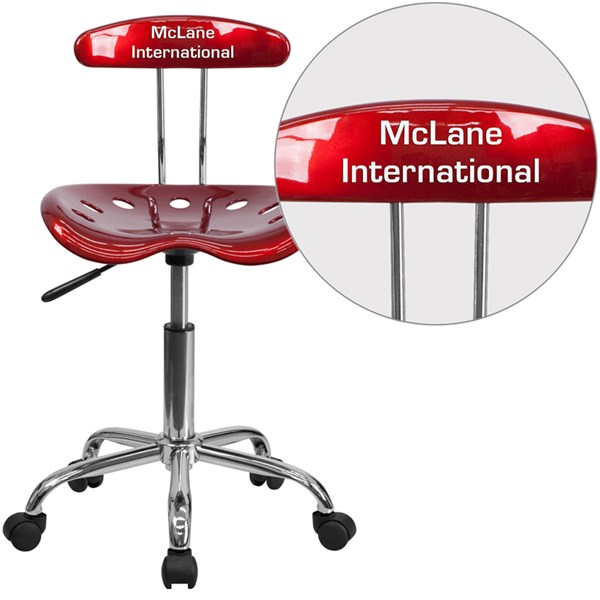 Personalized Vibrant Wine Red & Chrome Task Chair w/Tractor Seat FLF-LF-214-WINERED-TXTEMB-VYL-GG