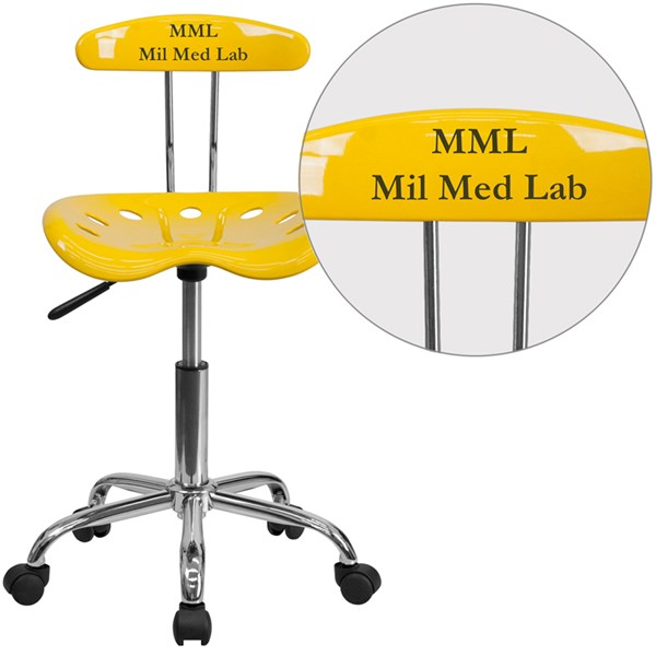 Personalized Vibrant Orange-Yellow & Chrome Task Chair w/Tractor Seat FLF-LF-214-YELLOW-TXTEMB-VYL-GG