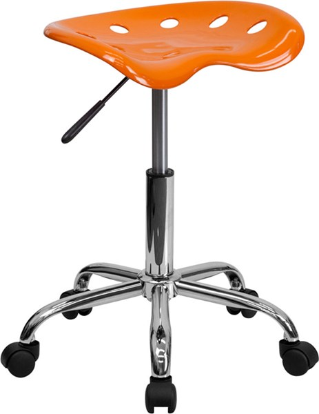 Flash Furniture Vibrant Orange Tractor Seat and Chrome Stool FLF-LF-214A-ORANGEYELLOW-GG