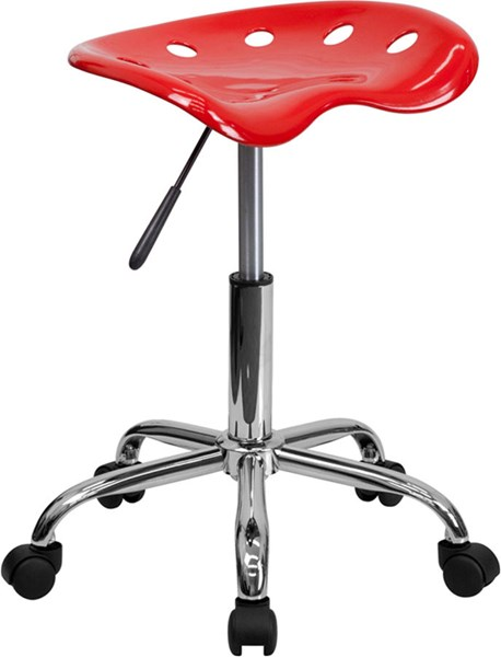 Flash Furniture Vibrant Red Tractor Seat and Chrome Stool FLF-LF-214A-RED-GG