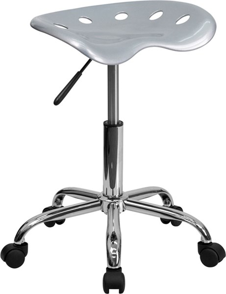 Flash Furniture Vibrant Silver Tractor Seat and Chrome Stool FLF-LF-214A-SILVER-GG