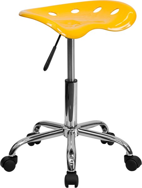 Flash Furniture Vibrant Yellow Tractor Seat and Chrome Stool FLF-LF-214A-YELLOW-GG