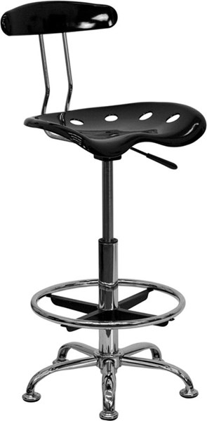 Vibrant Black & Chrome Drafting Stool w/Tractor Seat FLF-LF-215-BLK-GG
