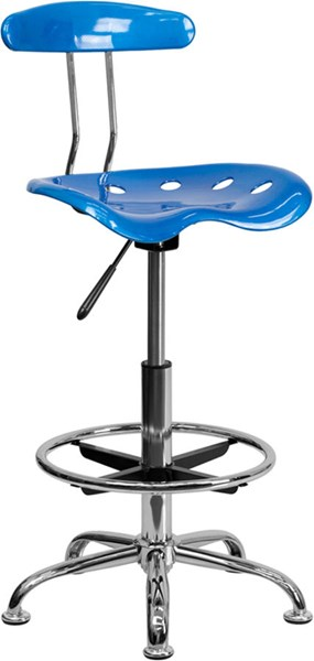 Flash Furniture Vibrant Bright Blue Chrome Drafting Stool FLF-LF-215-BRIGHTBLUE-GG