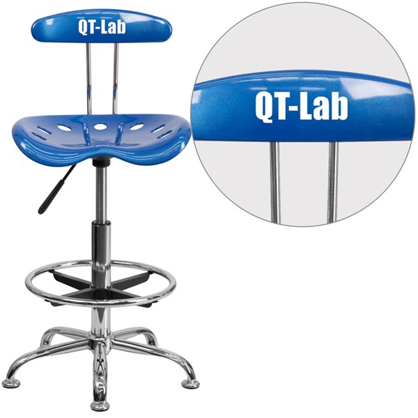 Personalized Vibrant Bright Blue & Chrome Tractor Seat Drafting Stool FLF-LF-215-BRIGHTBLUE-TXTEMB-VYL-GG