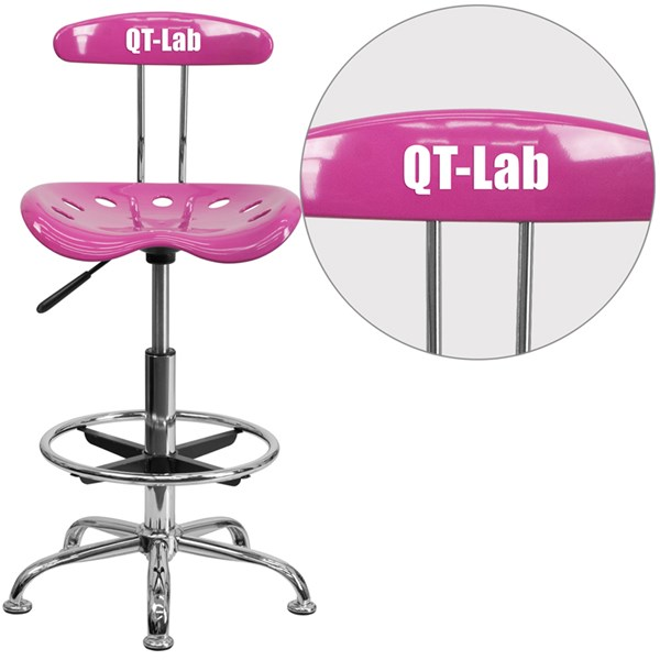 Personalized Vibrant Candy Heart & Chrome Tractor Seat Drafting Stool FLF-LF-215-CANDYHEART-TXTEMB-VYL-GG